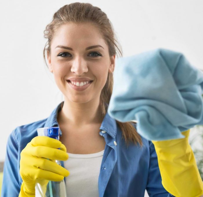 cleaning lady wiping